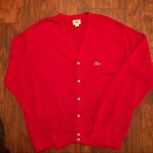 Vintage IZOD Lacoste Red VNeck Cardigan